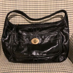 Large Coach Patent Hobo with Turnlock Pocket